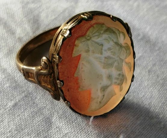 Кольцо старинное Камея Перстень СССР Серебро 875 пробы клеймо голова