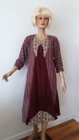 Suknia bordowa z haftem i dżetami r.L/XL
