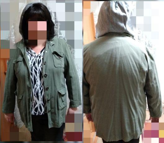Куртка пиджак большой жакет 54-56-58 женский с капюшоном