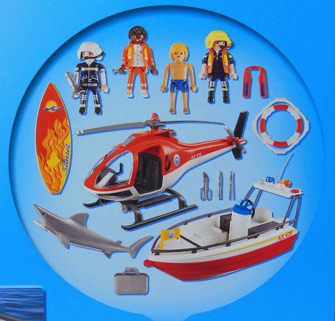 Playmobil 5668 łódź z napędem  i helikopter.
