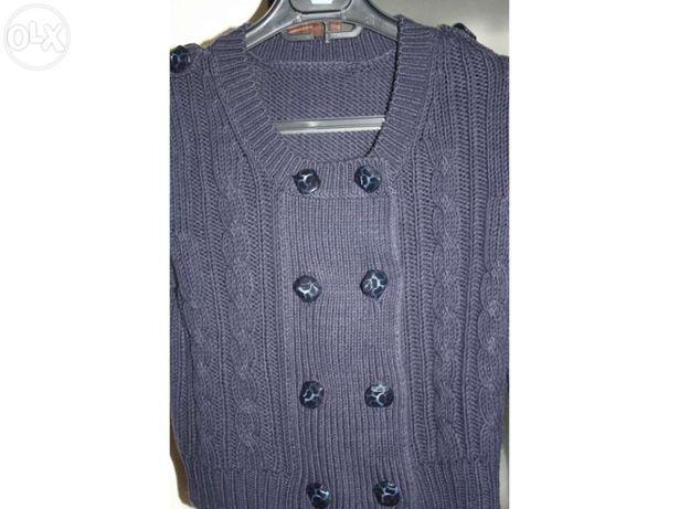 Casaco algodão e acrílico azul marinho ZARA tamanho S