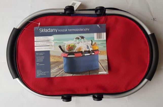 nowy lekki składany koszyk termoizolacyjny, niebiesko-czerwony