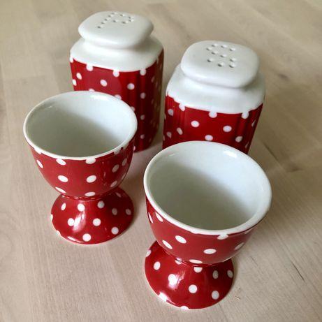 Ceramika pojemniki na sól / pieprz + kieliszki na jajka