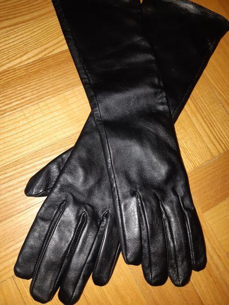 Перчатки длинные натуральная кожа