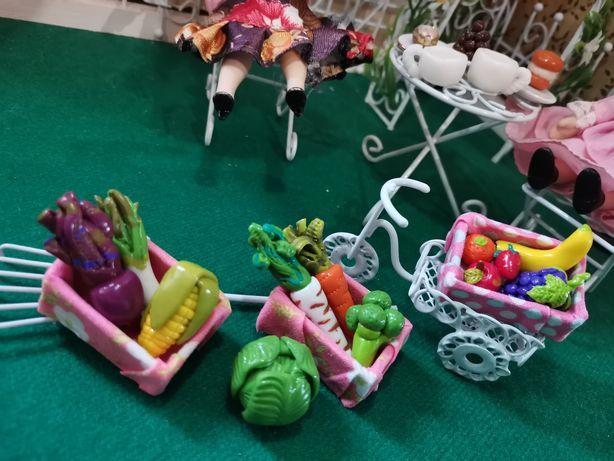 Warzywa i owoce, skrzynie, pizza,jedzenie dla lalek,farma, Barbie