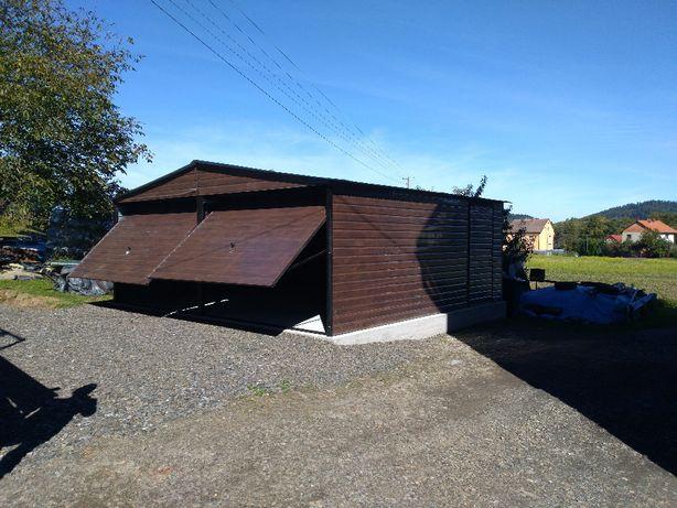 Garaż, garaże blaszane - dwuspadowy drewnopodobny 6x5