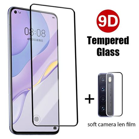2x Película vidro + filme protetor lente p/ Huawei P Smart 2019