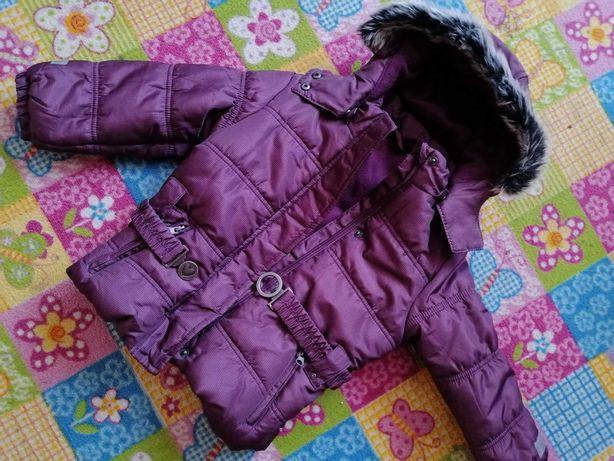 Nowa kurtka zimowa dla dziewczynki śliczna, taliowana 110