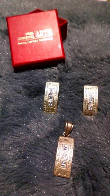 Komplet srebrny kolczyki biżuteria z cyrkoniami Nowy