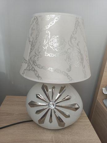 Lampa pokojowa biało srebna