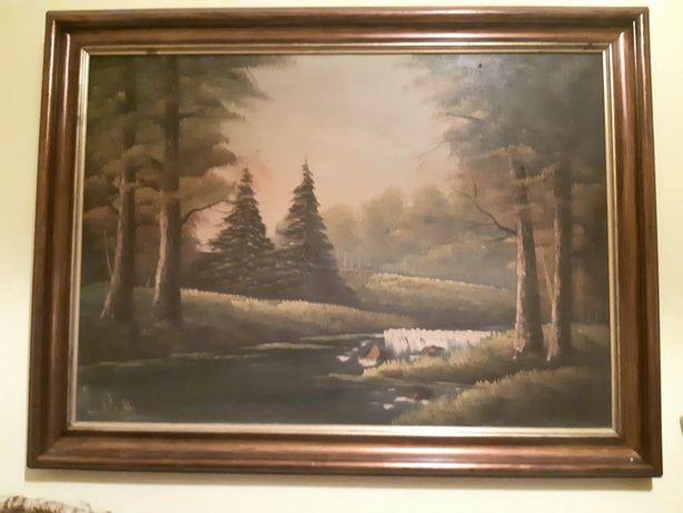 Stary obraz olejny na płótnie - pejzaż w drewnianej ramie