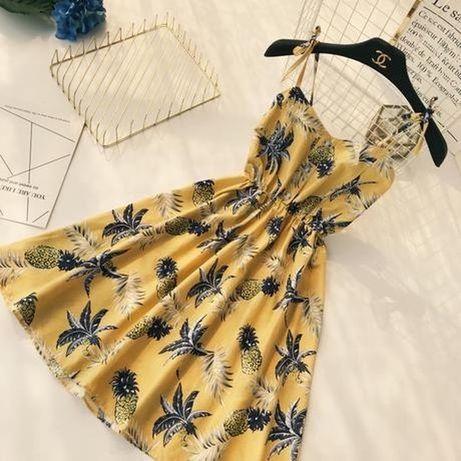 Платье с ананасами, стильный летний сарафан