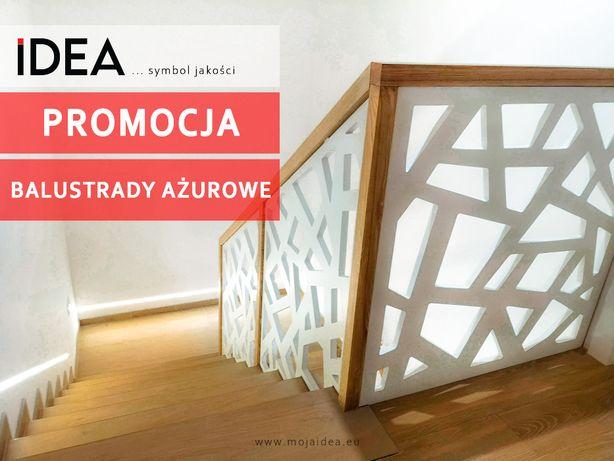 szklana balustrada ażurowa SCHODY DREWNIANE projekt montaż metal
