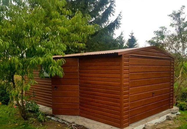 Garaż 3,5 x 6 Panel Poziomy -Drewnopodobny -Wyprzedaż Jesienna