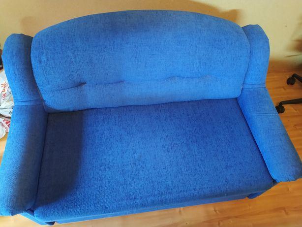 Sofa rozkładana w kolorze niebieskim 145x90cm