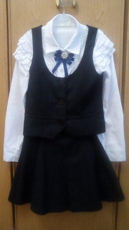Набор школьный, юбка+жилетка