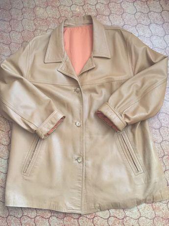 Кожаный пиджак женский 56-58 размер