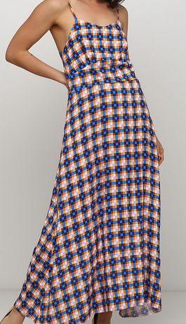 Летнее платья сарафан миди многоцветное в клетку