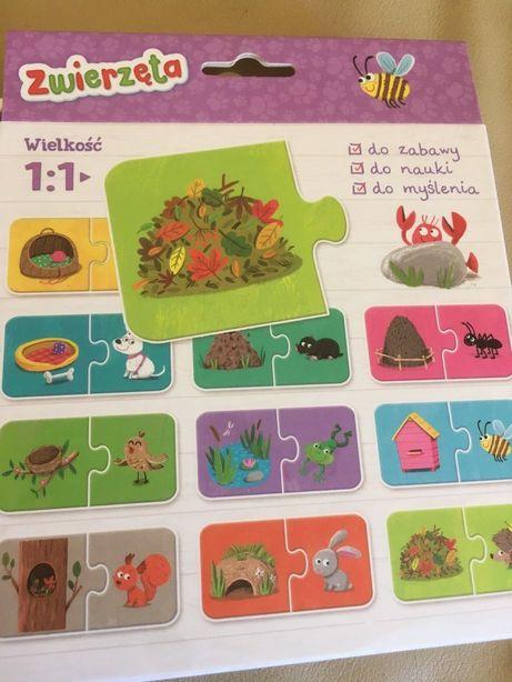 Nowe puzzle do pary + książeczka Układanka Zwierzęta 3+ co pasuje?