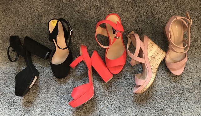 Новые Красные, черные, пудровые босоножки на каблуке 37 размера