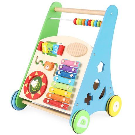 Pchacz chodzik drewniany edukacyjny sorter liczydło cymbałki muzyka