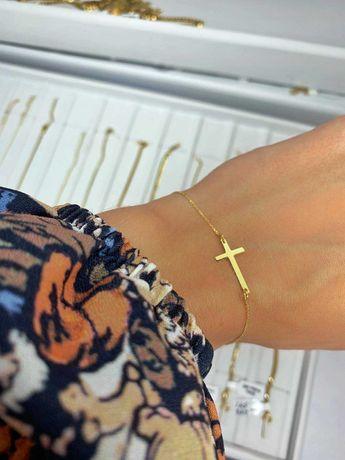 Złota Nowa bransoletka z Krzyżykiem Próba 585 14K