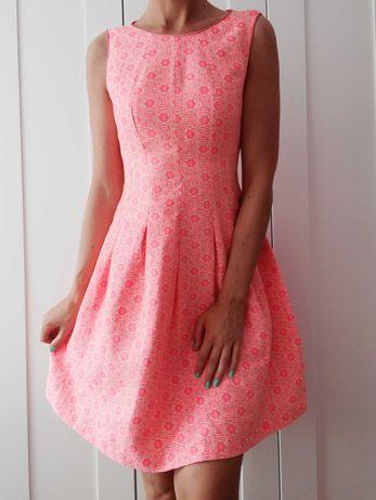 Koktajlowa morelowa różowa neonowa wesele Studniówka sukienka F&F S/M