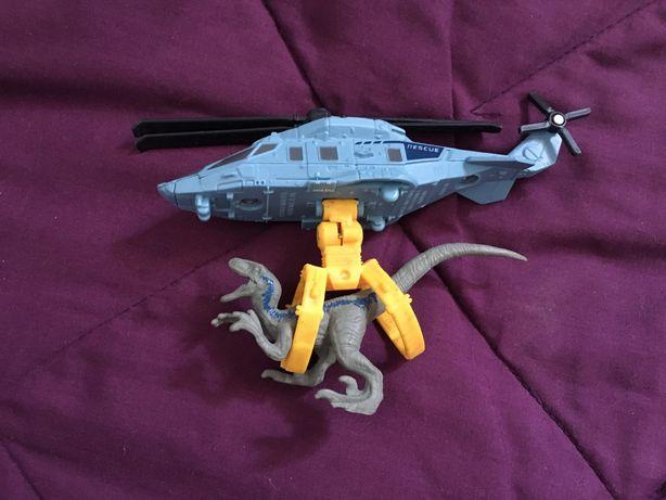 Вертолет с велоцираптом Jurassic world Mattel