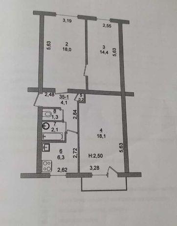 Продам 3-х комнатную квартиру в центре города 50лет СССР д.18