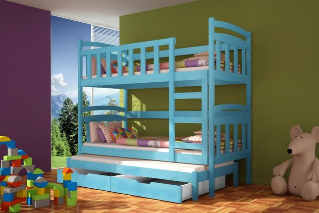 Łóżko dla dzieci, trzy osobowe model Dawid - materace w zestawie