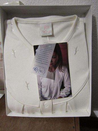 Camisa de Dormir de Inverno Cardada Branca Mira NOVA tam 48