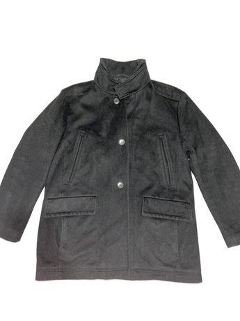 Шерстяное демисезонное мужское чёрное короткое пальто hugo boss