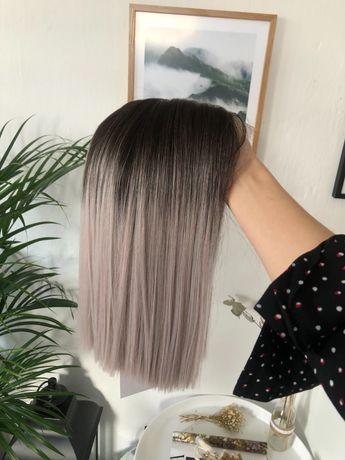 Szara peruka blond odrost long bob lace front