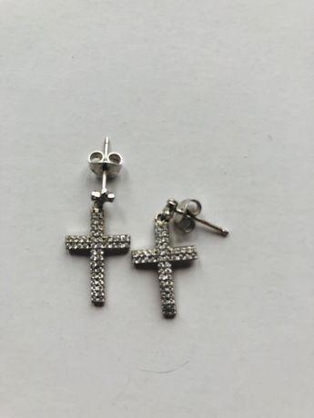 Briju koczyki srebrne krzyżyki cyrkonie