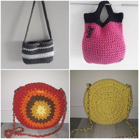 Handmade torebka okrągła na łańcuszku do ręki oraz koszyczki