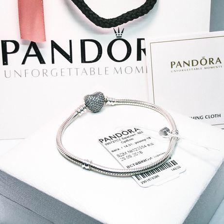 Браслет + шкатулка в ПОДАРОК! s925 проба с биркой Pandora Пандора Шарм