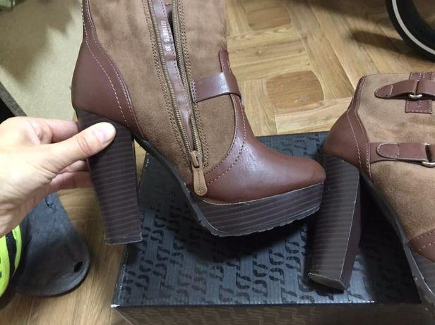 Женские ботинки на каблуку демисезонные коричневые р 38