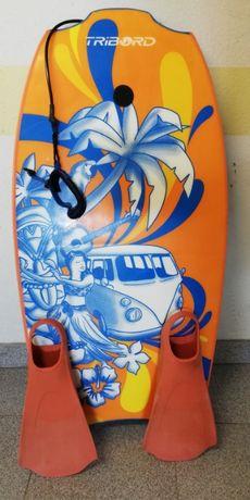 Prancha de bodyboard + pés de pato