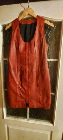 Натуральный кожаный сарафан, платье, жилетка. Красный. Кожа!!!