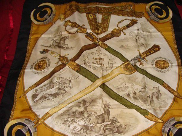Hermes Armes de chasse оригинал винтаж шелк 87Х87 косынка платок