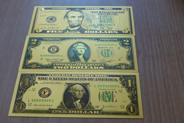 Сувенирные банкноты. Набор 1,2,5, долларов