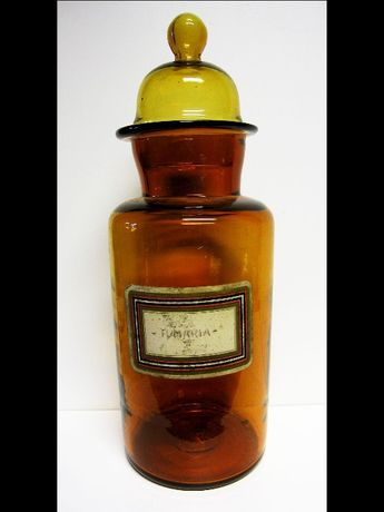 grande antigo frasco de farmácia em vidro castanho 40 cm de altura