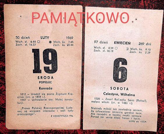 Kartka z kalendarza 1968 i 1969