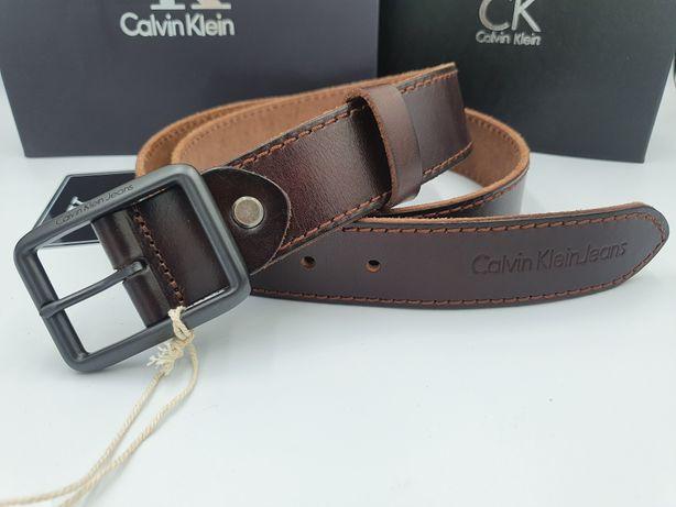 Мужской кожаный ремень Calvin Klein.  Ремень CK темно коричневый.