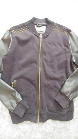 Dłuższa Bluza bomber kurtka kolce bawełna eko skóra L XL