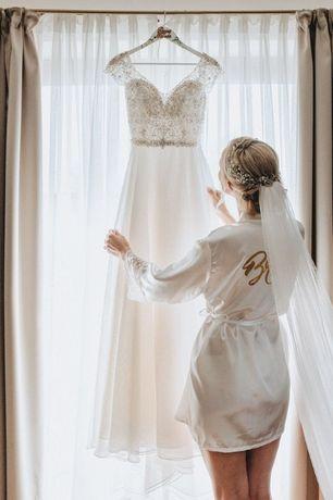 Suknia Ślubna Mori Lee 8182 kolor śmietankowy, zdobiony kamieniami