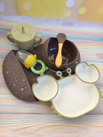 Силиконовая тарелка,секционная тарелка краб,силиконовая  посуда,ниблер