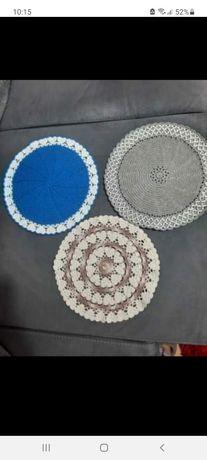 3 sousplat feitos com algodão numero 6