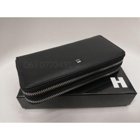 Кожаный мужской клатч кошелёк портмоне на две молнии H и F
