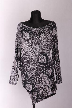 Sweter, sweterek ze srebrnymi cekinami asymetryczny 40, 42